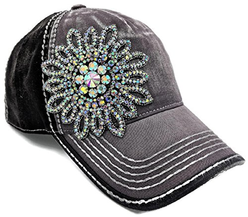 Olive & Pique Large AB Iridescent Crystal Flower Two-Tone Baseball Cap (One Size, Charcoal/Black)