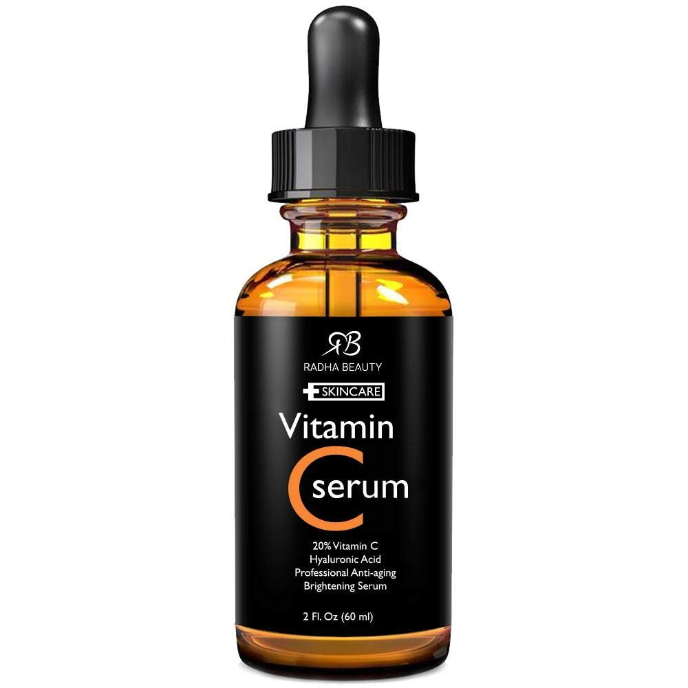 Radha Beauty Vitamin C Serum for Face, 2 fl. oz - 20% Organic Vitamin C + E + Hyaluronic Acid for Anti-Aging, Wrinkles, and Fine Lines - For Radiant and Healthy Skin by Radha Beauty
