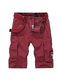 K3K Men Cool Casual Solid Color Multi-Pocket Big Fit Outdoor Pants Cargo Shorts
