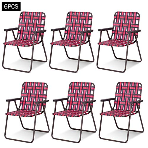 Giantex 6 PCS Folding Beach Chair Portable Camping Steel Frame Lightweight Support 265 Lbs Lawn Webbing Chair (Red) by Giantex