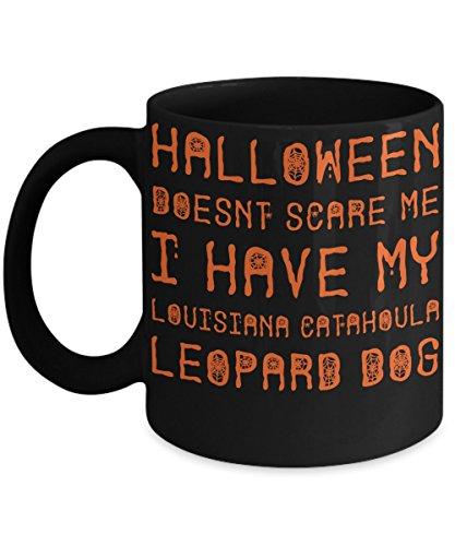 Halloween Louisiana Catahoula Leopard Dog Mug - White 11oz Ceramic Tea Coffee Cup - Perfect For Travel And Gifts ()