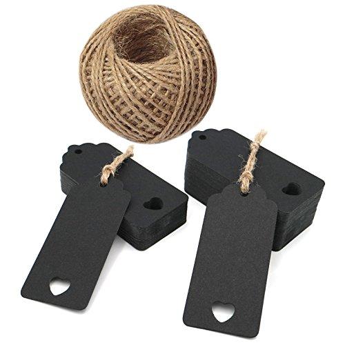 100pezzi carta kraft con etichette regalo matrimonio favore Tag a cuore 4cm x 9cm 100piedi Spago di iuta Black JIJA