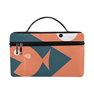 Big Fish Eat Small Fish Pattern Lunch Box Tote Bag Lunch Holder Insulated Lunch Cooler Bag For Women/men/picnic/boating/beach/fishing/school/work