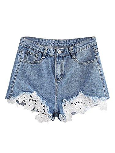 MAKEMECHIC Women's Cutoff Pocket Distressed Ripped Jean Denim Shorts Blue-Lace L - Lace Trim Denim
