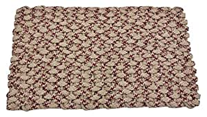 Rockport Rope Doormats 2038291 Kitchen Comfort Mats, 20 by 38-Inch, Tan with Two Wine Stripes with Tan Insert
