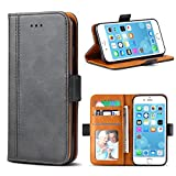 iPhone 7 Case, iPhone 8 Case, Bozon Wallet Case for iPhone 7/8 Flip Folio Leather Cover with Stand/Card Slots and Magnetic Closure (Dark Grey)