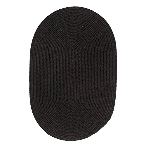 (Super Area Rugs Pura Braided Wool Rug Extra Soft Reversible Black Colored Carpet, 2' x 3' Oval)