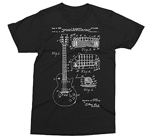 Gibson Les Paul Patent - Guitar Music T-Shirt [Color - Black, Size - M] (Gibson Les Paul Custom Black Beauty Bigsby)
