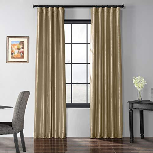 HPD Half Price Drapes PTCH-BO401-96 Blackout Faux Silk Taffeta Curtain, 50 x 96, Tuscan -