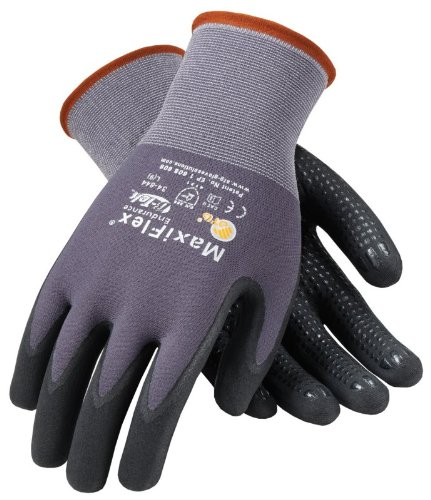 (Protective Industrial Products® 34-844/M Medium MaxiFlex® Endurance by ATG® 15 Gauge Abrasion Resistant Black Micro-Foam Nitrile Palm And Fingertip Coated Work Gloves With Gray Seamless Knit Nylon Liner And Continuous Knit Wrist)