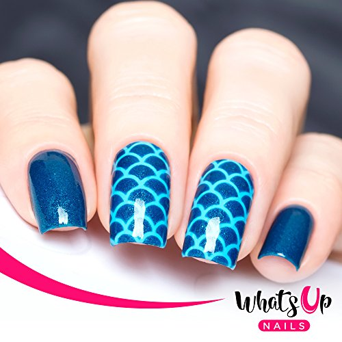 Whats Up Nails - Scales Mermaid Vinyl Stencils for Nail Art Design (2 Sheets, 24 Stencils Total) -