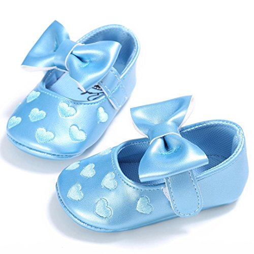 Voberry Baby Girls Stripe Bow Shoes Toddler Princess Flat Leather Moccasins (6~12Month, Blue)
