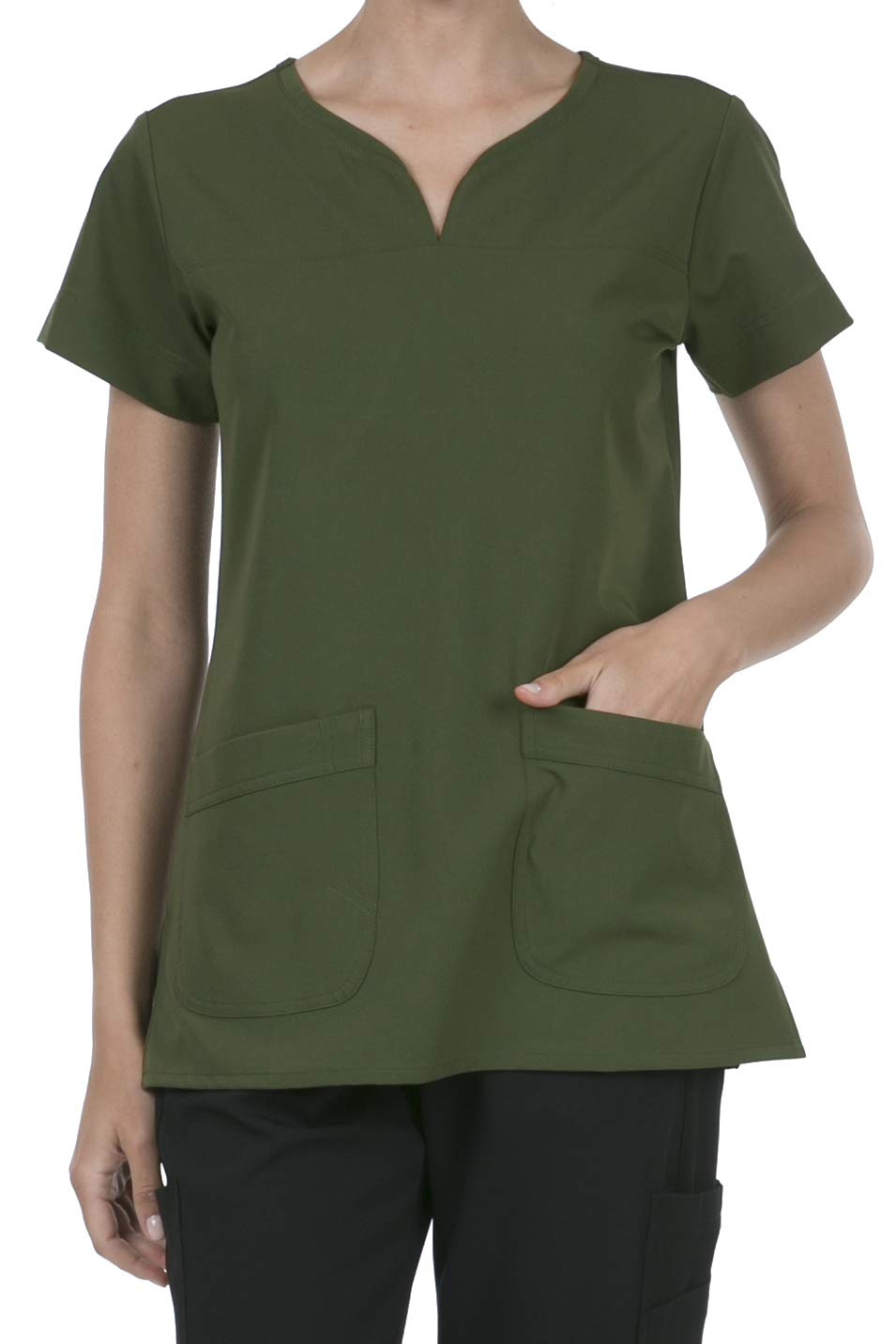 8045 Women's Uniform Scrubs Medical 2 Pocket Scrub Top Olive L by SHOP TIRZAH