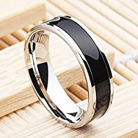 wanmanee Fashion Jewelry Black Titanium Band Stainless Steel Ring For Men Women Size 6-10 (7)
