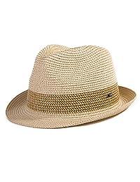 53af7a14aa9 SIGGI Panama Straw Summer Fedora Beach Trilby Sun Hats Short Brim for Men