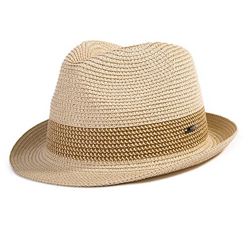 - Summer Fedora Panama Beach Hats Men Women Straw Sun Hats Short Brim Casual Foldable Cuban 56-59CM Beige