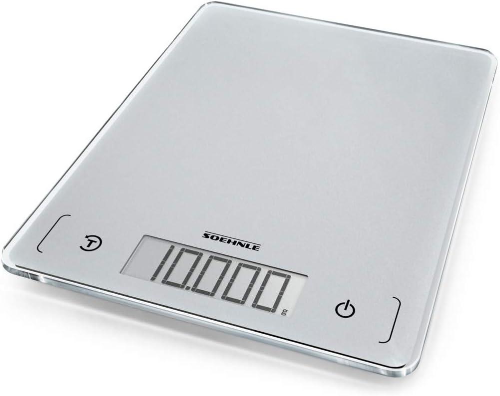 Soehnle Page Comfort 300Slim- Báscula de cocina digital, color plata