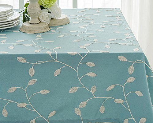 Tina Cotton Linen Tablecloth Leaf Embroidered Table Cover for Dinner Kitchen Blue, 60x108