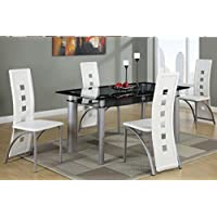 Poundex F2212 & F1264 Black Painted Glass & White Leatherette Chairs Dining Set
