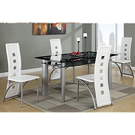 Poundex F2212 F1264 Black Painted Glass White Leatherette Chairs Dining Set