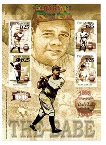 (Baseball Hall of Fame Legends - Babe Ruth - Rare Collectors Stamps - Gambia)