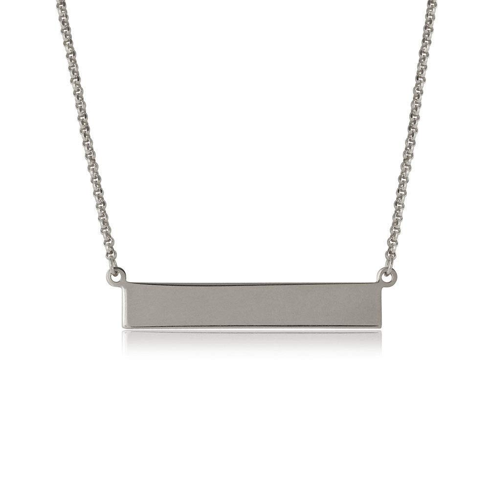 SURANO DESIGN JEWELRY Sterling Silver Necklace w//Engravable Sideways Bar Pendant