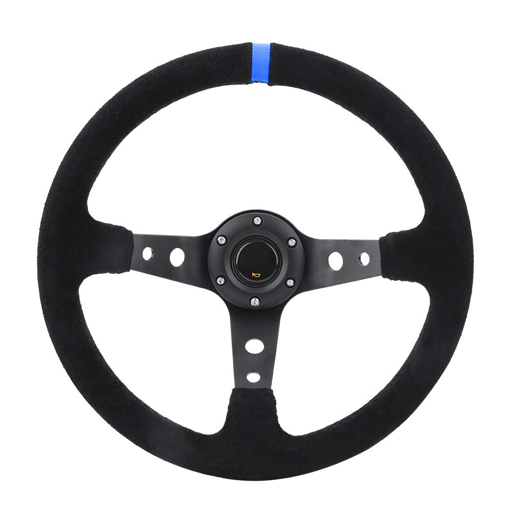 Blu Volante dellautomobile Universale,Volante da Corsa 350 mm in Pelle Nappata Telaio in Alluminio Foro Modificato 14 Pollici Accessorio Auto Interno Decoration