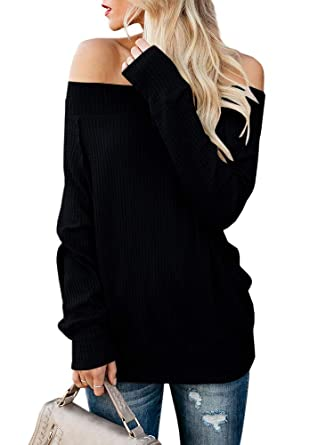959788f4c15b43 Imysty Womens Off Shoulder Sweaters Pullover Casual Oversized Waffle Knit  Tunic Tops