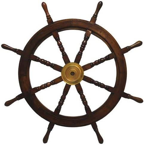 KINDWER Solid Wood and Brass Ships Wheel