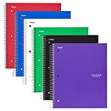 Five Star Spiral Notebooks, 5 Subject, College Ruled Paper, 200 Sheets, 11'' x 8-1/2'', Assorted Colors, 6 Pack (73793)