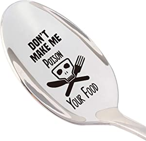 THREE HUMAN Don't Make Me Poison Your Food Funny Spoon, Gift for Best Friends, The Cook, Foodie, Halloween Party Gifts