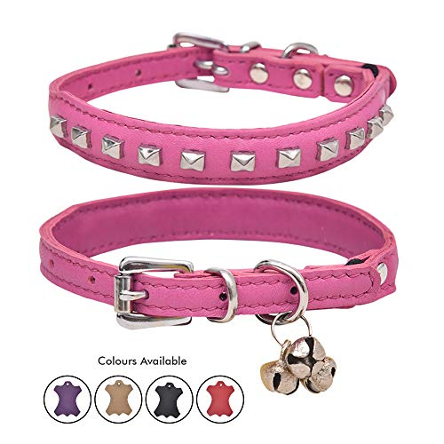 Ultra Soft Real Lamb Leather Rectangular Spike Charm Studded Cat Collar with Break Away Safety Elastic Embellished with Detachable Handcrafted Indian Bells (One Size, Pink)