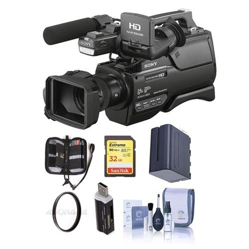 Sony HXR-MC2500 AVCHD Shoulder Mount Camcorder, 1/4'' Exmor R CMOS HD, SD AVCHD - Bundle With 32GB U3 SDHC Card, Spare Battery, 37mm UV Filter, Cleaning Kit, Card Reader, Memory Wallet by Sony
