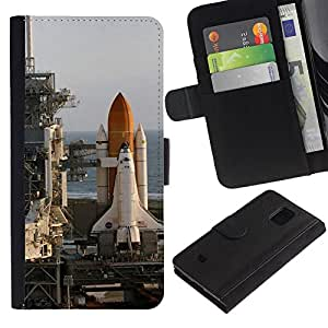 LASTONE PHONE CASE / Lujo Billetera de Cuero Caso del tirón Titular de la tarjeta Flip Carcasa Funda para Samsung Galaxy S5 Mini, SM-G800, NOT S5 REGULAR! / Rocket launch center