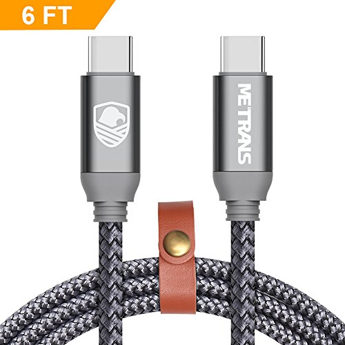 USB C to USB C Cable Fast Charging, METRANS 6FT/2M Power Delivery PD Up to 20V 3A 60W Nylon Braided USB-C Type C to USB C Cable Charging and Sync Cable for Macbook and Other (High Quality Component Video)