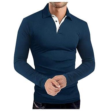 Elecenty Moda Camisas para Hombre Botón de Solapa Casual Camisetas ...