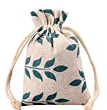 Meta-U Burlap Bags With Drawstring- Storage Bag- Sachets Bag- Gift Pouch For Party | Wedding-12pcs (1723cm(6.89.2), leaf)