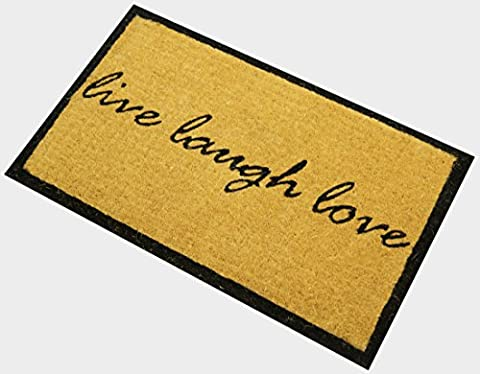 Handwoven Extra Thick Live Laugh Love Coco Coir Door Mat, Entrance Doormat - 18 x 30 Inches Welcome - Love Door Mat