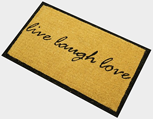 Door Love Mat (Envelor Home and Garden Handwoven, Extra Thick Doormat, Outdoor Rugs Durable Coir, Outdoor Doormat, Welcome Mat Entryway Door Mat For Patio, Coir Doormat (18 x 30, Live Love Laugh))