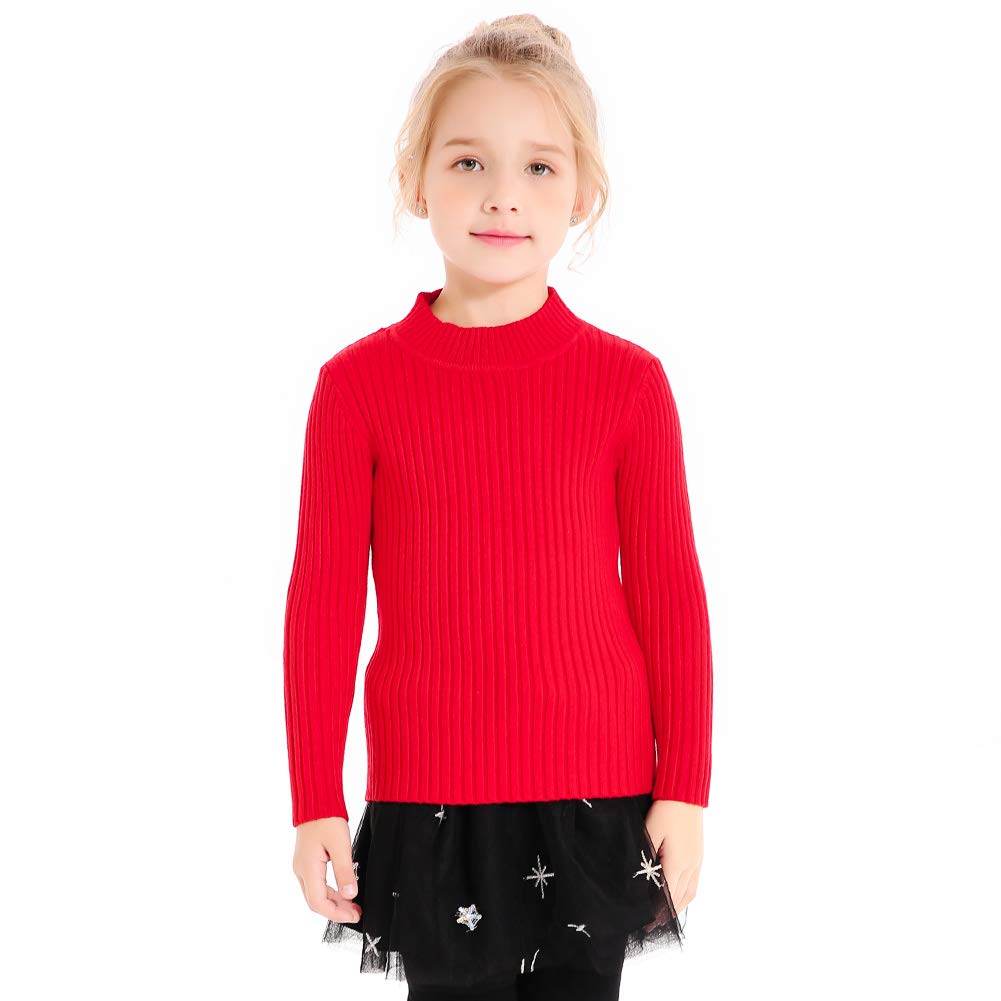 SMILING PINKER Kids Girls Pullover Sweaters Knit Long Sleeve Turtleneck Fall Winter Basic Tops