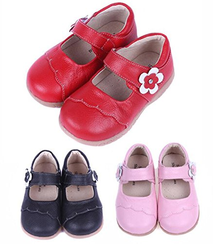 Bumud Girls Genuine Leather First Walkers Round Toe Princess Dress Mary Jane Flat Shoes
