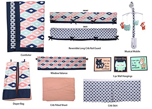 Bacati Aztec Emma Unisex 10 Piece Crib Bedding Set, Coral/Mint/Navy
