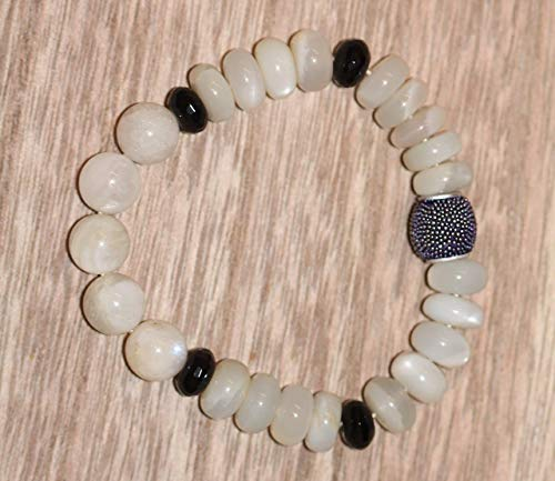 Black Onyx and Moonstone Crystal Unisex Stretchy and Stackable Bracelet