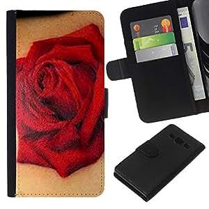 KLONGSHOP // Tirón de la caja Cartera de cuero con ranuras para tarjetas - Red tinta del tatuaje Arte del motorista del amor de la primavera - Samsung Galaxy A3 //