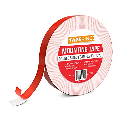 Tape King Foam Mounting Tape White, Double Sided 3/4 Inch x 9.7 Yards