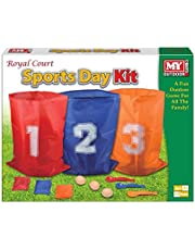3 in 1 Sports Day Kit Sack Race Egg and Spoon Race Set Bean Bag Toss Fun Outdoor Garden Family Target Game