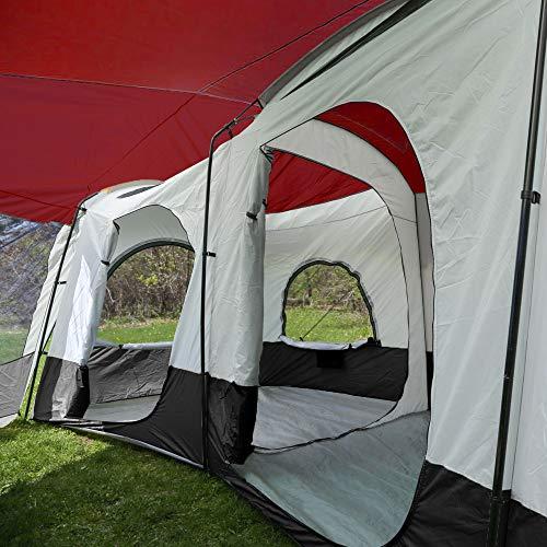Tahoe Gear Carson 3 Season 14 Person Large Solar Shield Family Cabin Tent, Red