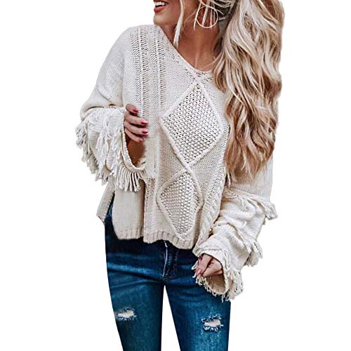 UOKNICE Womens Blouses, Long Sleeves Casual Winter Warm Fashion Solid V-Neck Knitted Loose Pullover Sweatshirts Tops 8-Pocket Folder Ladies on lab o Matic t2 top-o-Matic Parrot Plus Size Prism