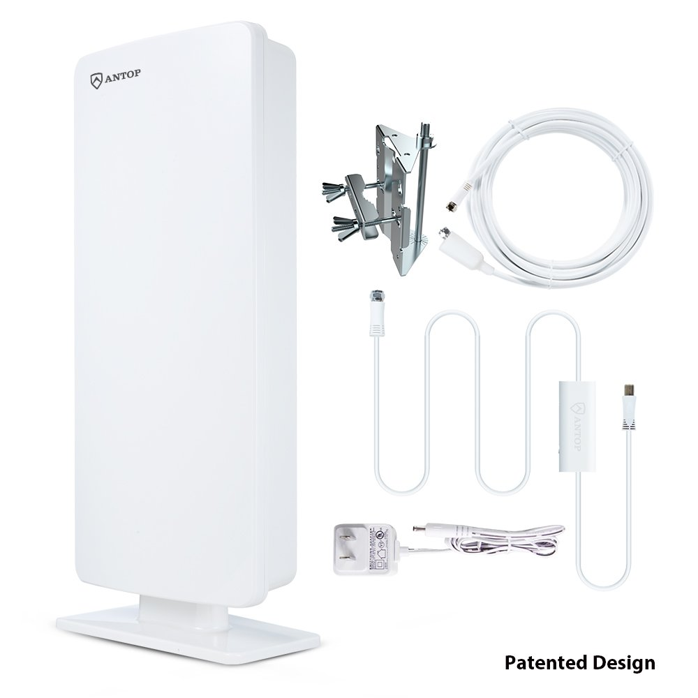 Antop Outdoor Amplified TV Antenna,80 Mile Multi-Directional Attic HDTV Antenna with Amplifier Signal Booster, 1080P 4K-Extremely High Reception with 40ft Coaxial Cable