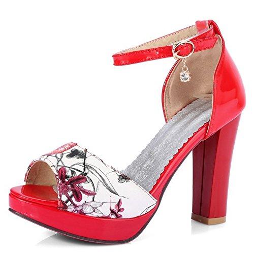 TAOFFEN Women Platform Heels Sandals Ankle Strap Red ShH2T